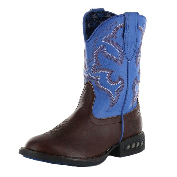 Roper Kids Lightning Light Up Boots - Brown/Blue