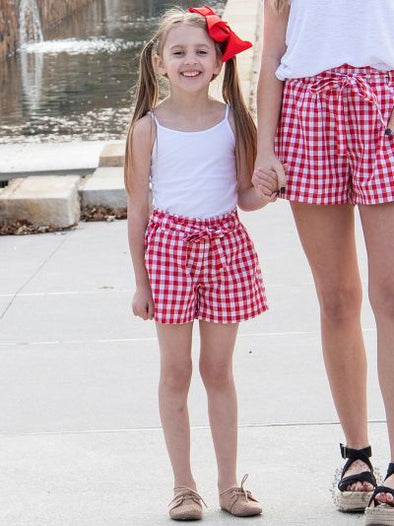 Girls Gracie Red Gingham Shorts