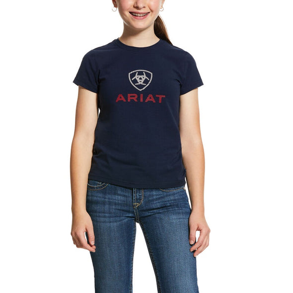 Ariat Girls HD Logo Navy Tee