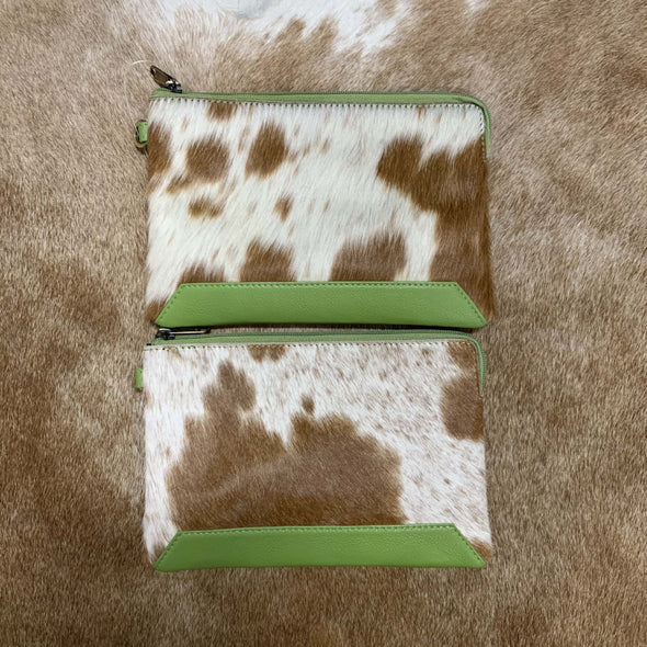 Detroit Brown Jersey Hide and Green Leather Clutch