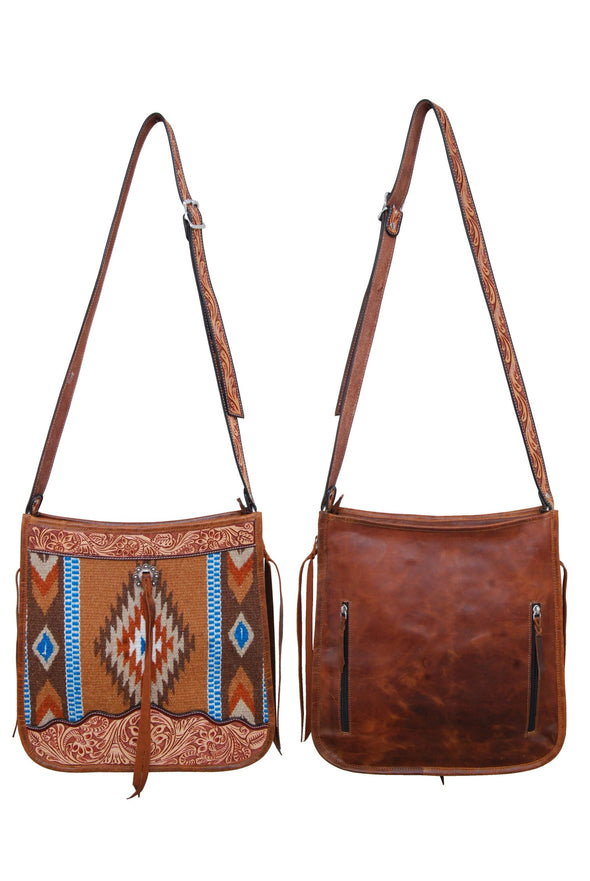 Rafter T Ranch Taupe Wool and Tooled Tote Bag