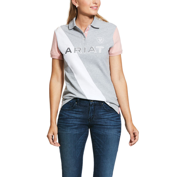 Ariat Ladies Taryn Polo - Heather Grey/Bridal Rose