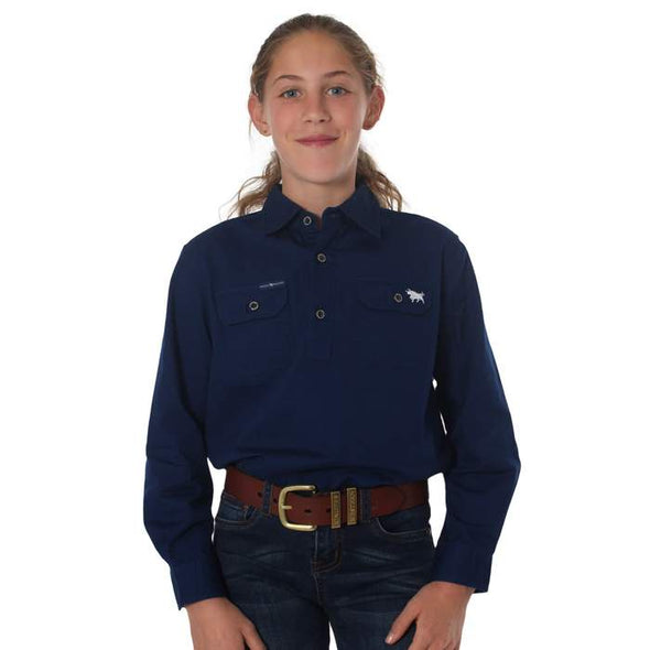 Ringers Western The Ord River Half Button Work Shirt - Navy