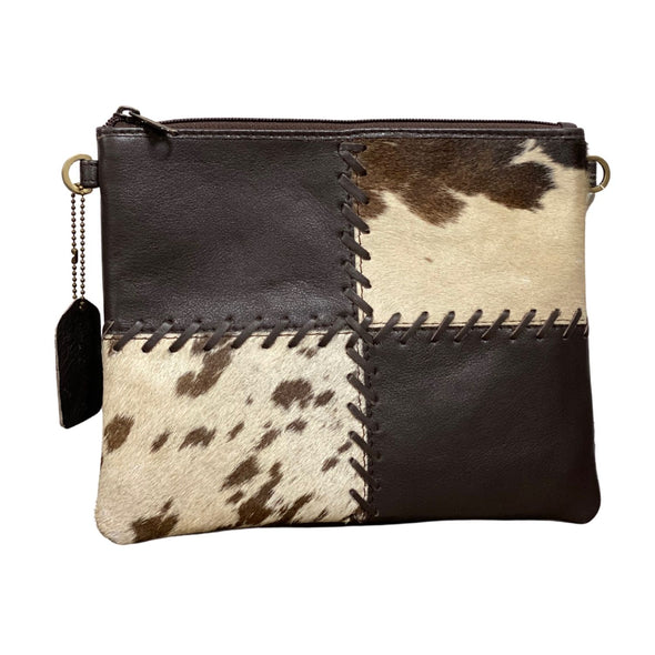 Lisbon Cowhide and Brown Leather Clutch Bag