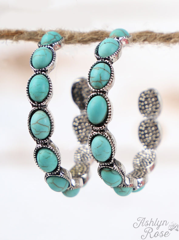 Turquoise Oval Stone Hoop Earrings