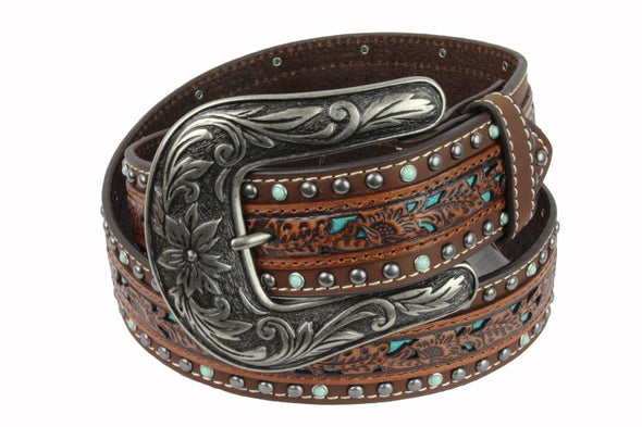 Nocona Tooled Feature with Stud Edging Belt
