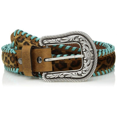 Ariat Leopard Print Belt with Turquoise Whipstitching
