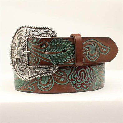 Ariat Ladies Painted Rose Tooled Belt