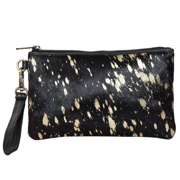 Toronto Gold and Black Hide Small Clutch
