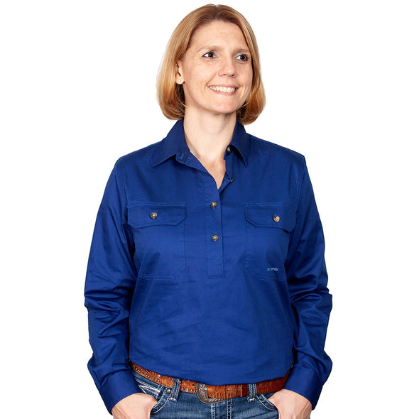 Just Country Jahna Half Button Work Shirt - Navy