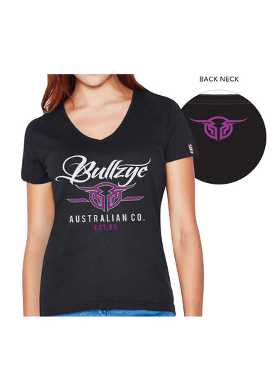 Bullzye Ladies Code V Neck Tee - Black