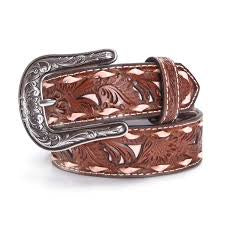 Pink Inlay and Whipstitched Tooled Leather Belt