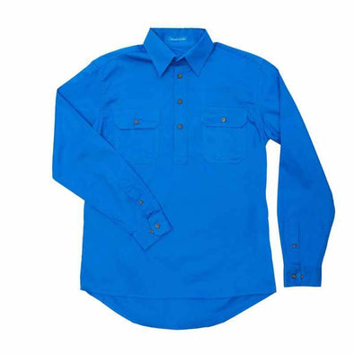Just Country Cameron Half Button Work Shirt - Blue Jewel