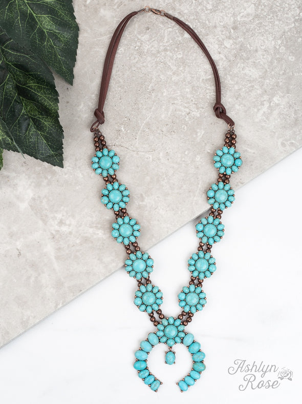 Turquoise Squash Blossom Leather Necklace
