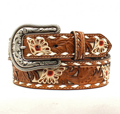 Nocona Ladies  Painted Floral Tooled Belt
