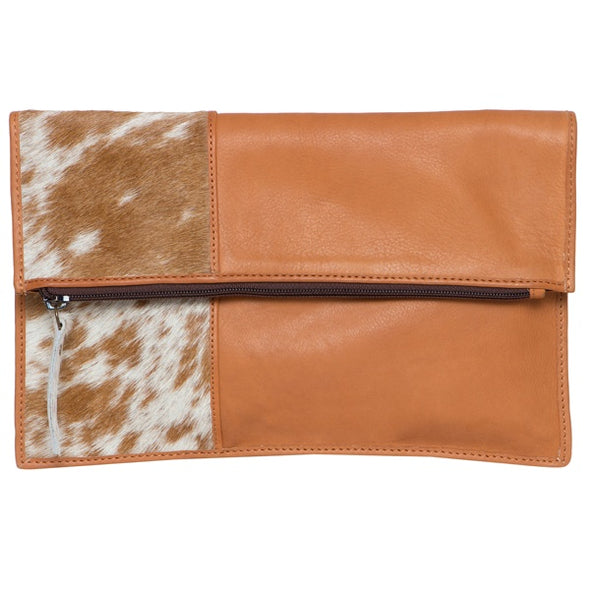 Sofia Jersey Hide and Tan Leather Fold-over Clutch