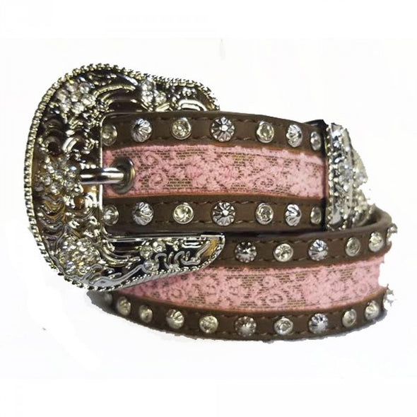 Angel Ranch Girls Pink Lace Sparkle Belt