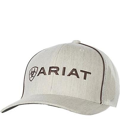 Ariat Cream and Brown Logo Cap