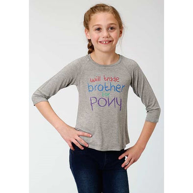 Roper Girls Trade Brother For Pony 3/4 Sleeve Tee