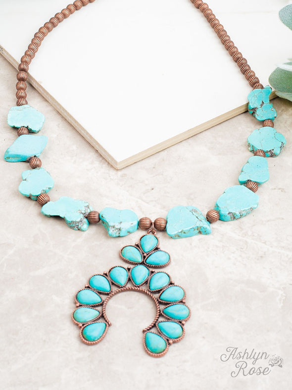 Turquoise Squash Blossom and Copper Beaded Necklace