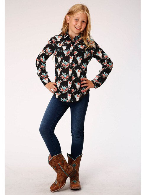 Roper Girls Black Floral Steer Head L/S Shirt