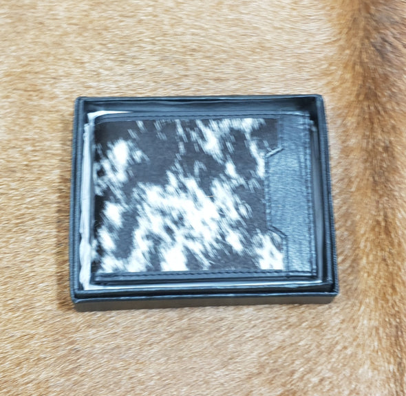 Mens Cowhide & Leather Wallet - Black/Black