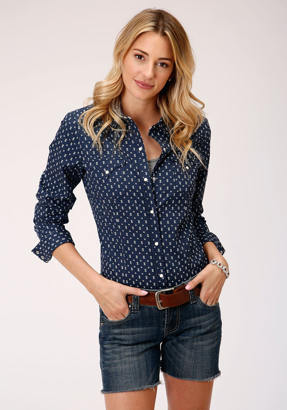 Ladies Roper Navy Pearl Snap L/S Shirt