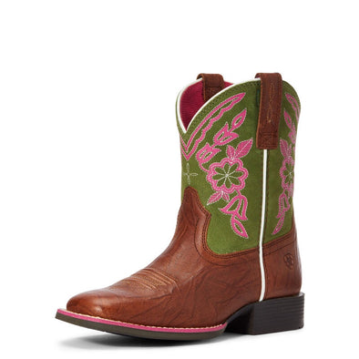 Ariat Girls Cattle Cate Boots - Copper Penny/Green