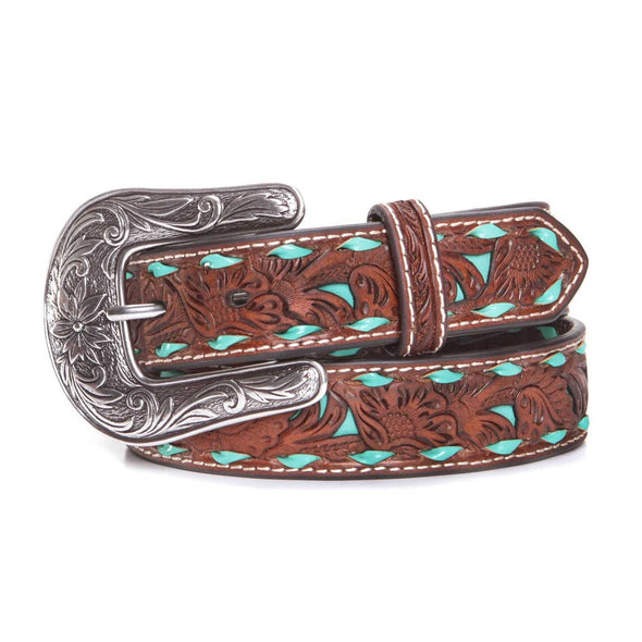 Nocona Girls Floral Tooled Turquoise Belt