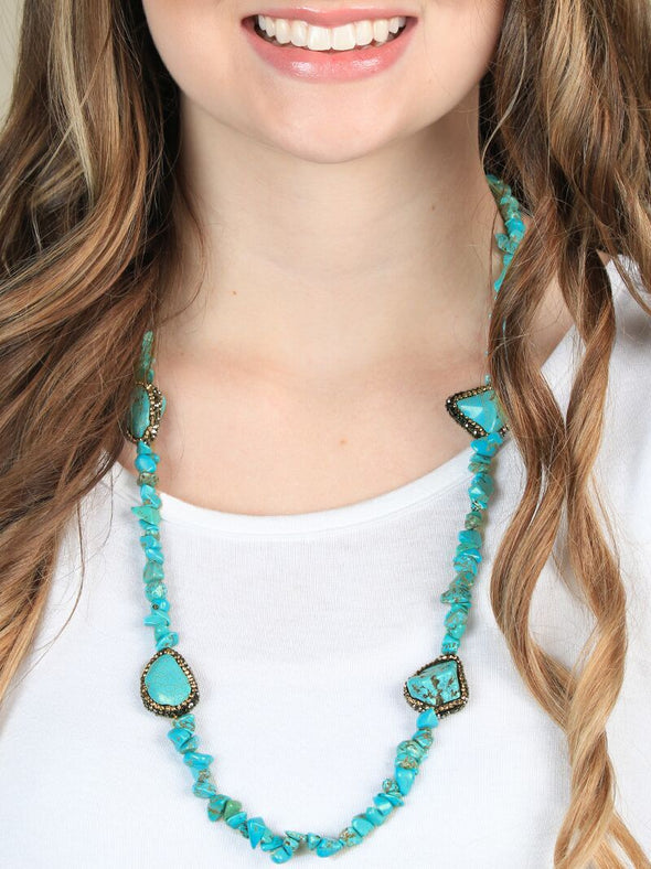 Turquoise and Gold Crystal Halos Necklace