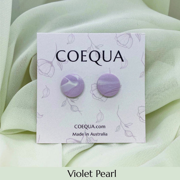 Violet Pearl Circle Stud Earrings