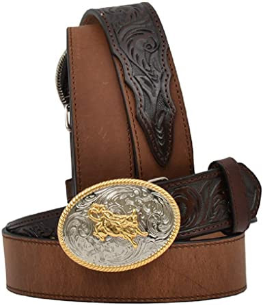 3D Boys Leather Tooled Feature Belt
