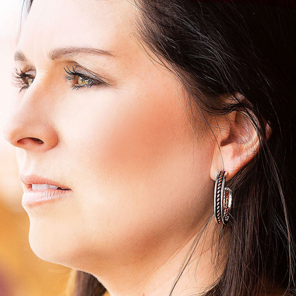Montana Silversmiths Inner Strength Rope Hoop Earrings