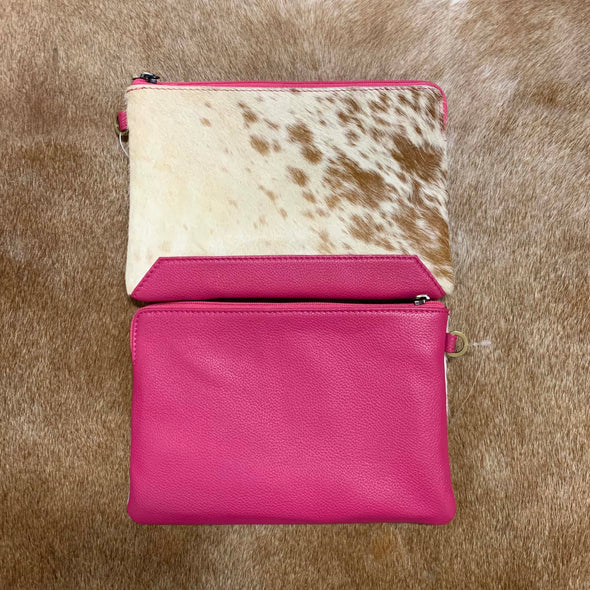 Detroit Brown Jersey Hide and Pink Leather Clutch