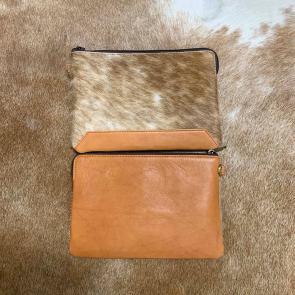 Detroit Jersey Hide and Tan Leather Clutch