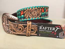 Rafter T Ranch Tooled Belt - Painted Cactus