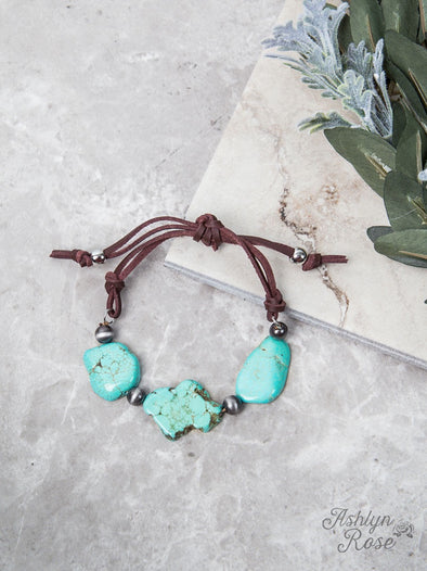 Chunky Turquoise Stone and Silver Bracelet