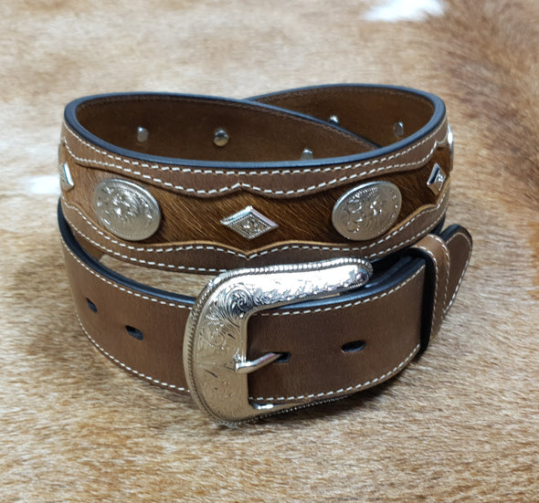 Mens Leather Cowhide and Concho Western Belt