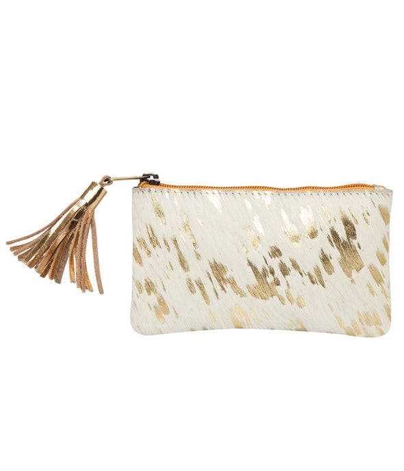 York White and Gold Hide Small Tassel Clutch