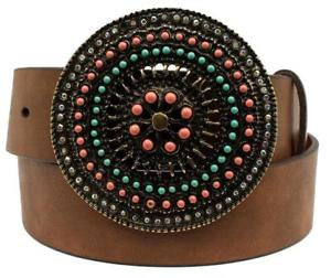 Ariat Ladies Detailed Round Buckle Leather Belt