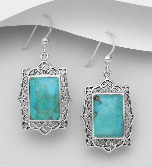 Scrolled Frame Turquoise Dangle Earrings