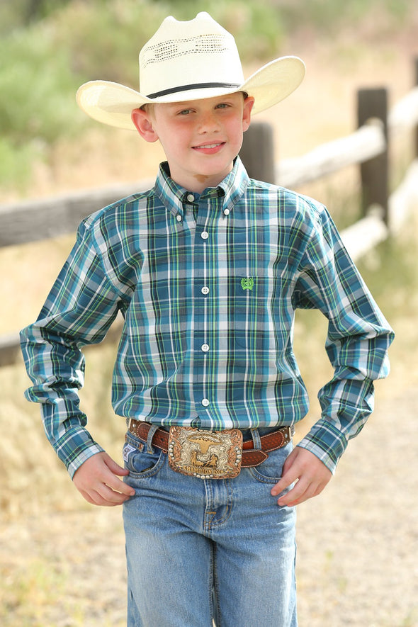 Boys Cinch Teal & Lime Plaid Button Down Shirt