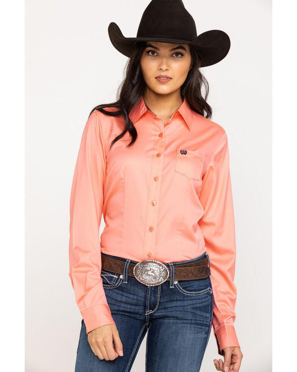 Cinch Ladies Solid Button Down L/S Shirt - Pink