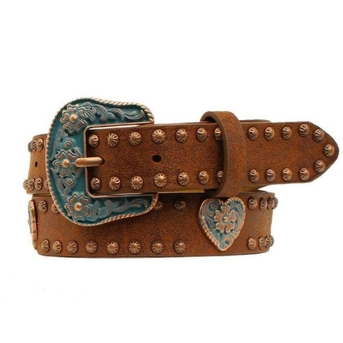 Angel Ranch Girls Copper Heart Concho Belt