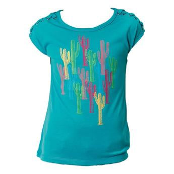 Roper Girls Five Star Turquoise Cactus Tee