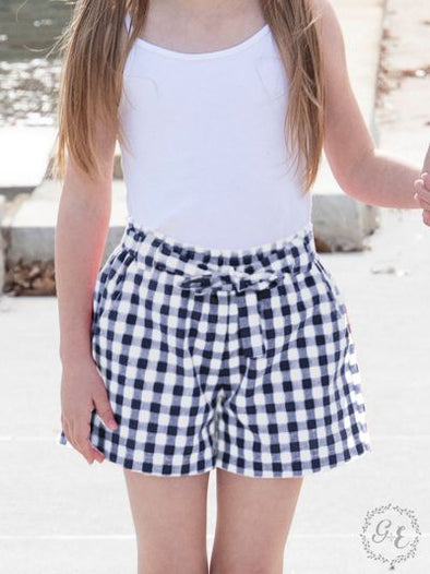 Girls Gracie Navy Gingham Shorts