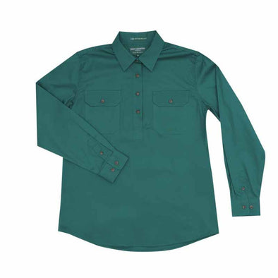 Just Country Jahna Half Button Work Shirt - Forest Green