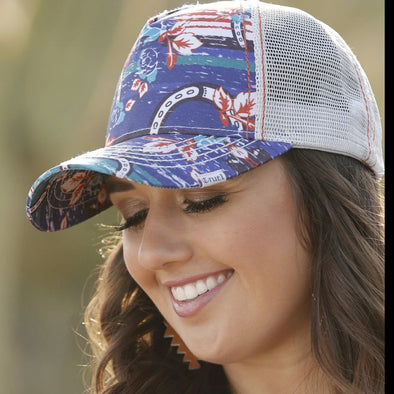 Cruel Girl Horseshoe Print Blue Trucker Cap