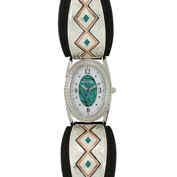 Montana Silversmiths Two Toned Southwestern Double Trails Leather Watch