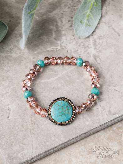 Turquoise Stone Pendant and Brown Crystal Bracelet